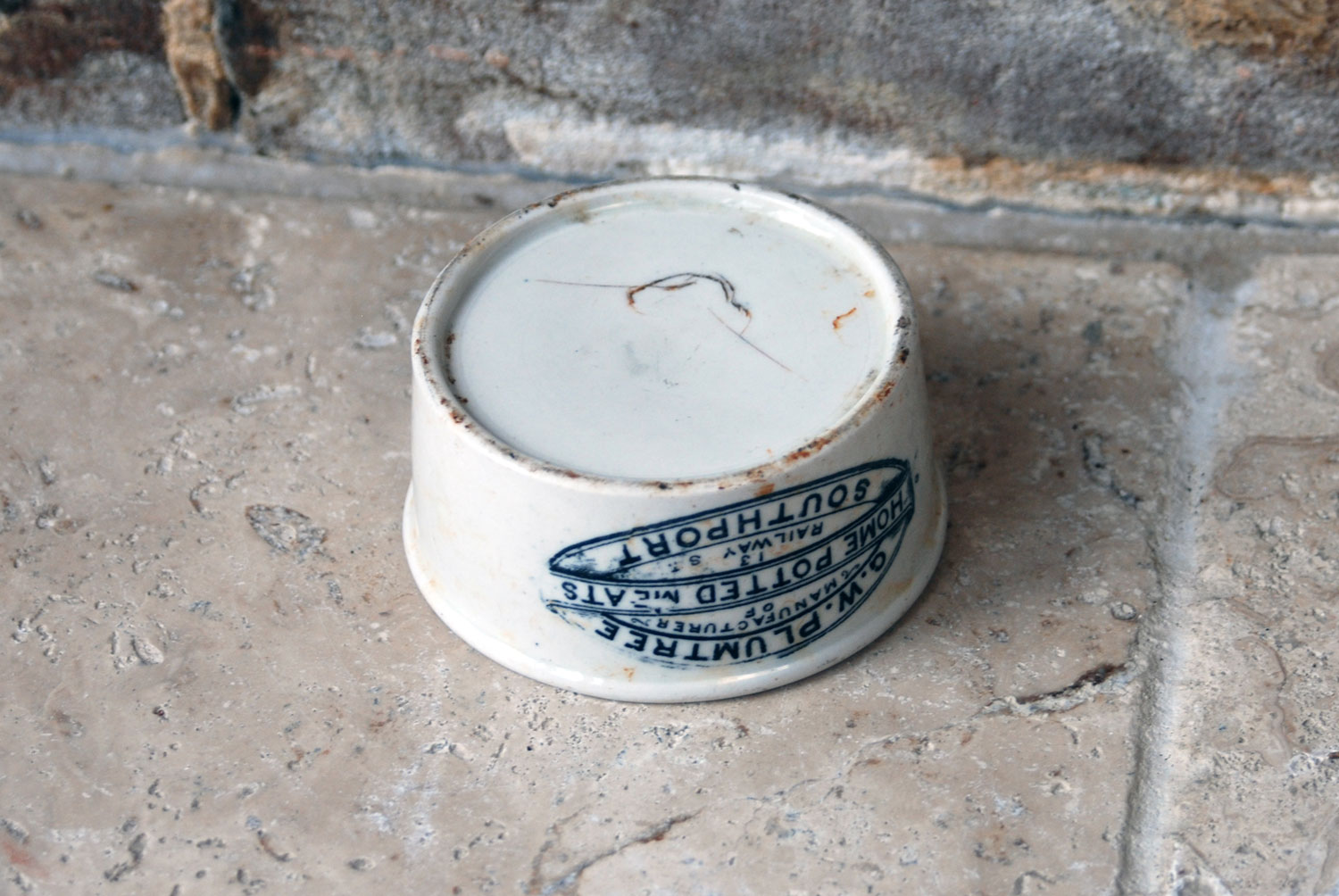 antique victorian white ironstone english advertising pot gw plumtree southport