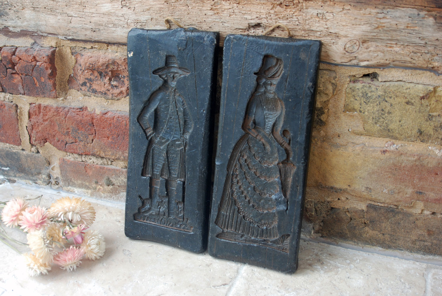 antique 19th century gingerbread mould wax impressions lady duchess noble gentleman german springerle mold
