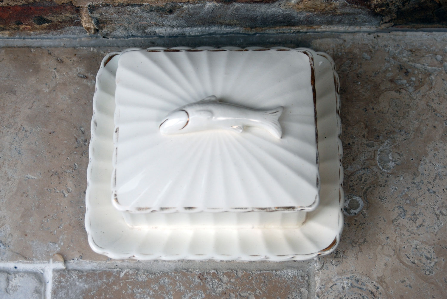 antique rare white ironstone large heavy lidded sardine dish