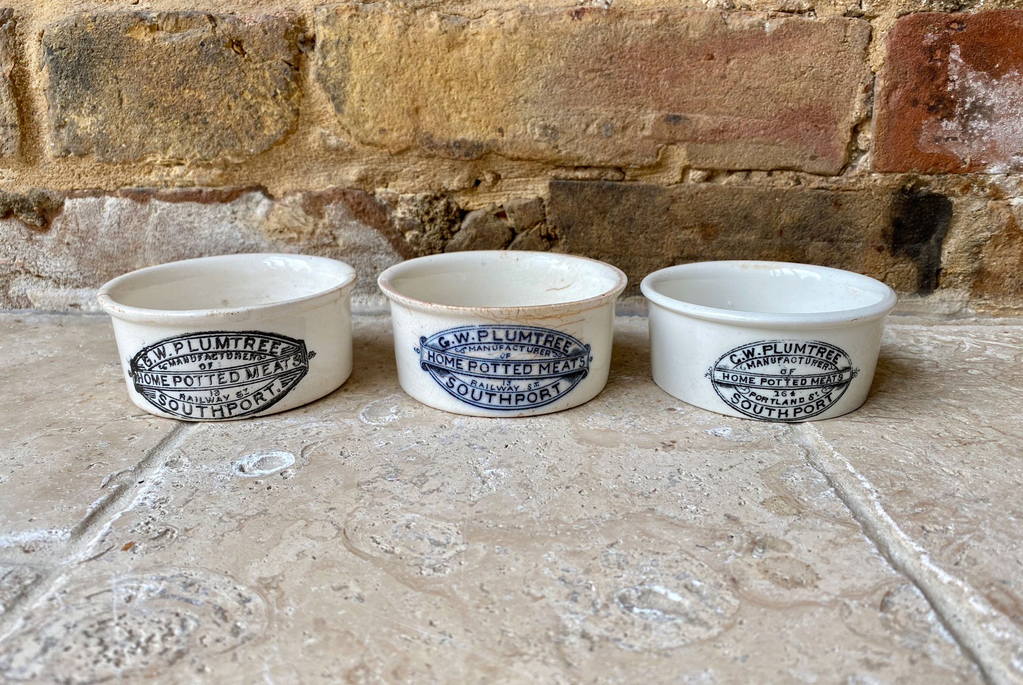 antique victorian english advertising paste pot gw plumtree potted meats southport