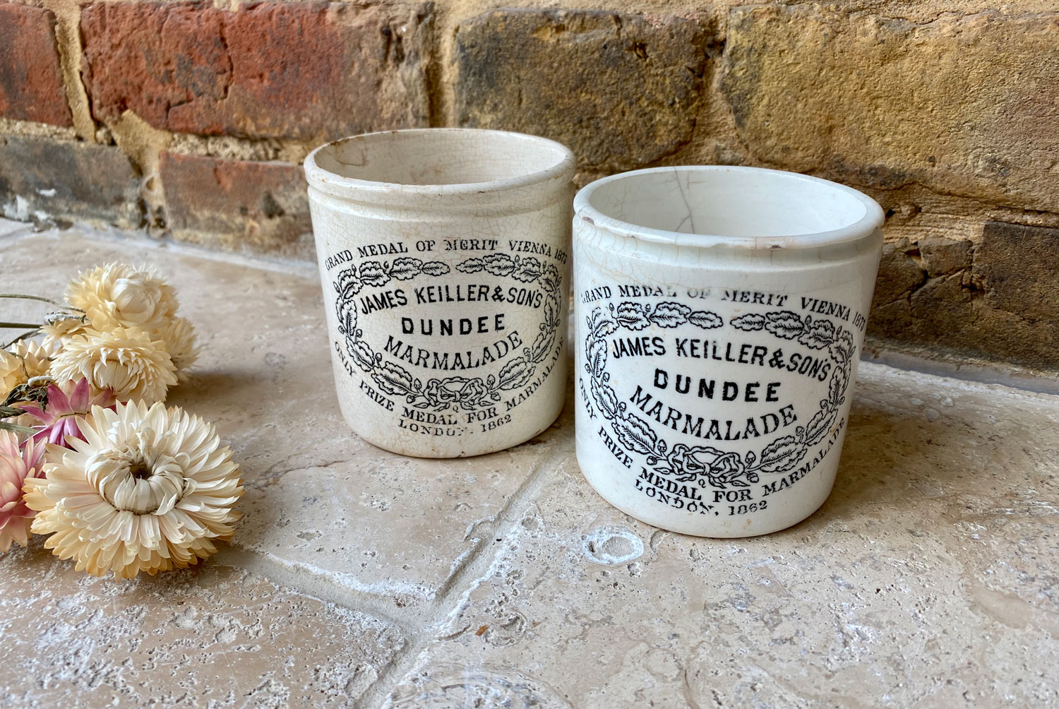 antique victorian english white ironstone chubby 1# one pound james keiller dundee marmalade advertising pot