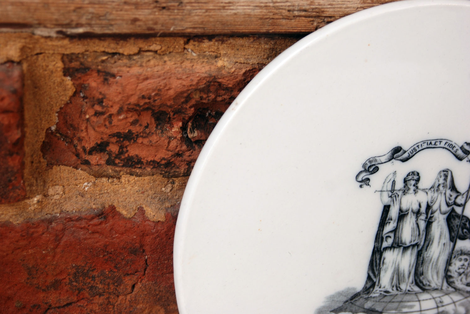 antique victorian edwardian large white ironstone scale plate justitia fides black transfer print