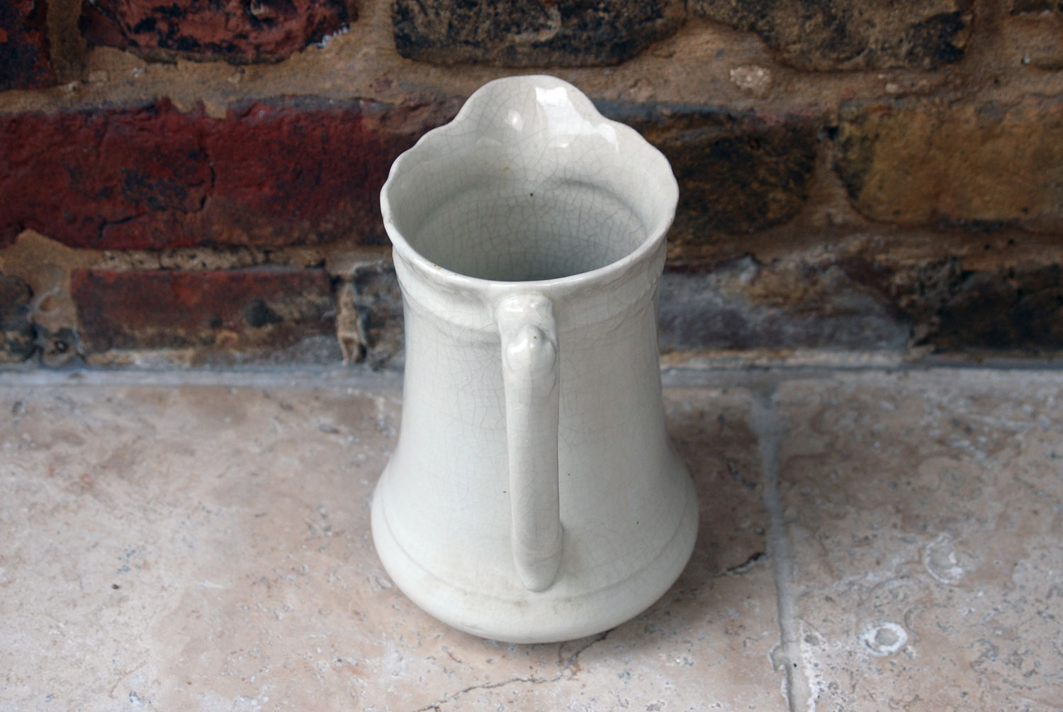 antique french white ironstone large water wine jug pitcher crazing weathered timeworn