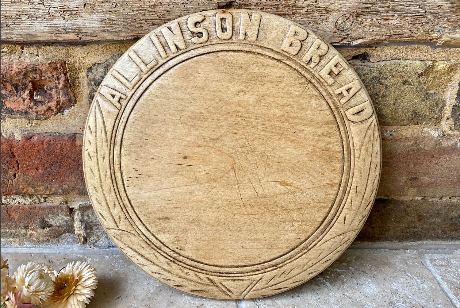 antique 1920s advertising carved english sycamore bread board allinson bread