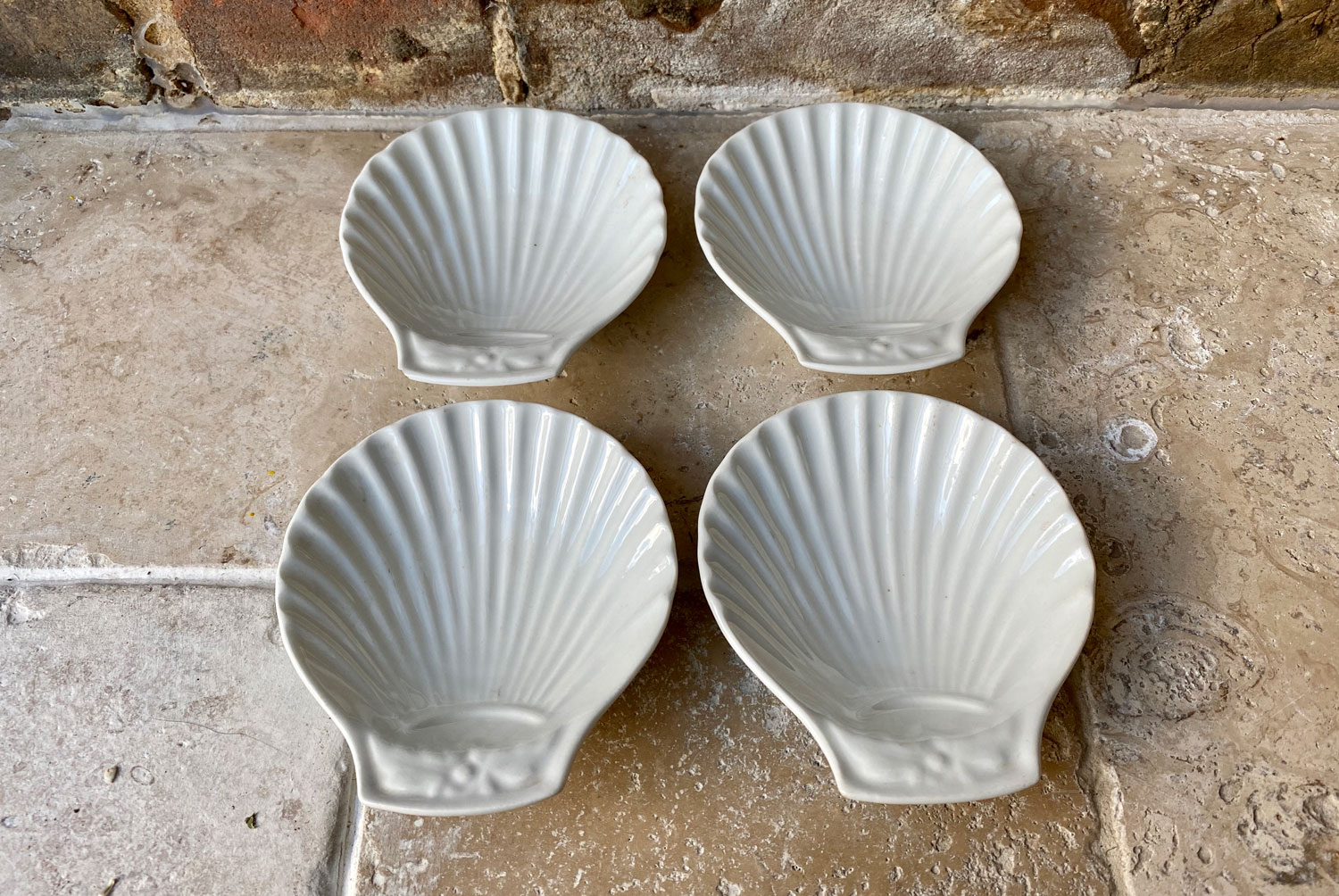 antique 19th century pillivuyt mehun white ironstone porcelain coquille st jacques scallop shell dishes