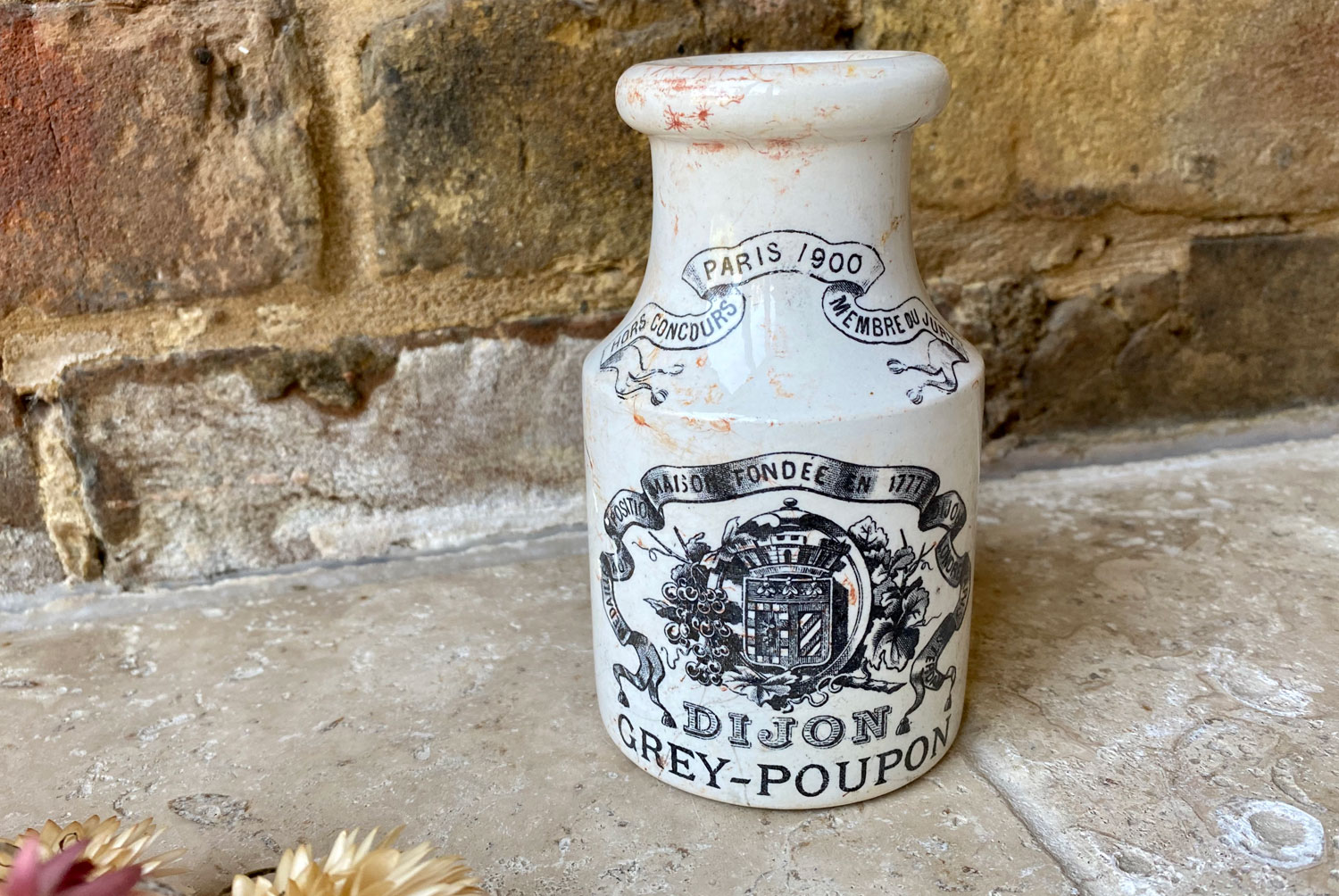 antique french 1800s white ironstone medium sized double sided poupon grey dijon mustard moutarde advertising pot