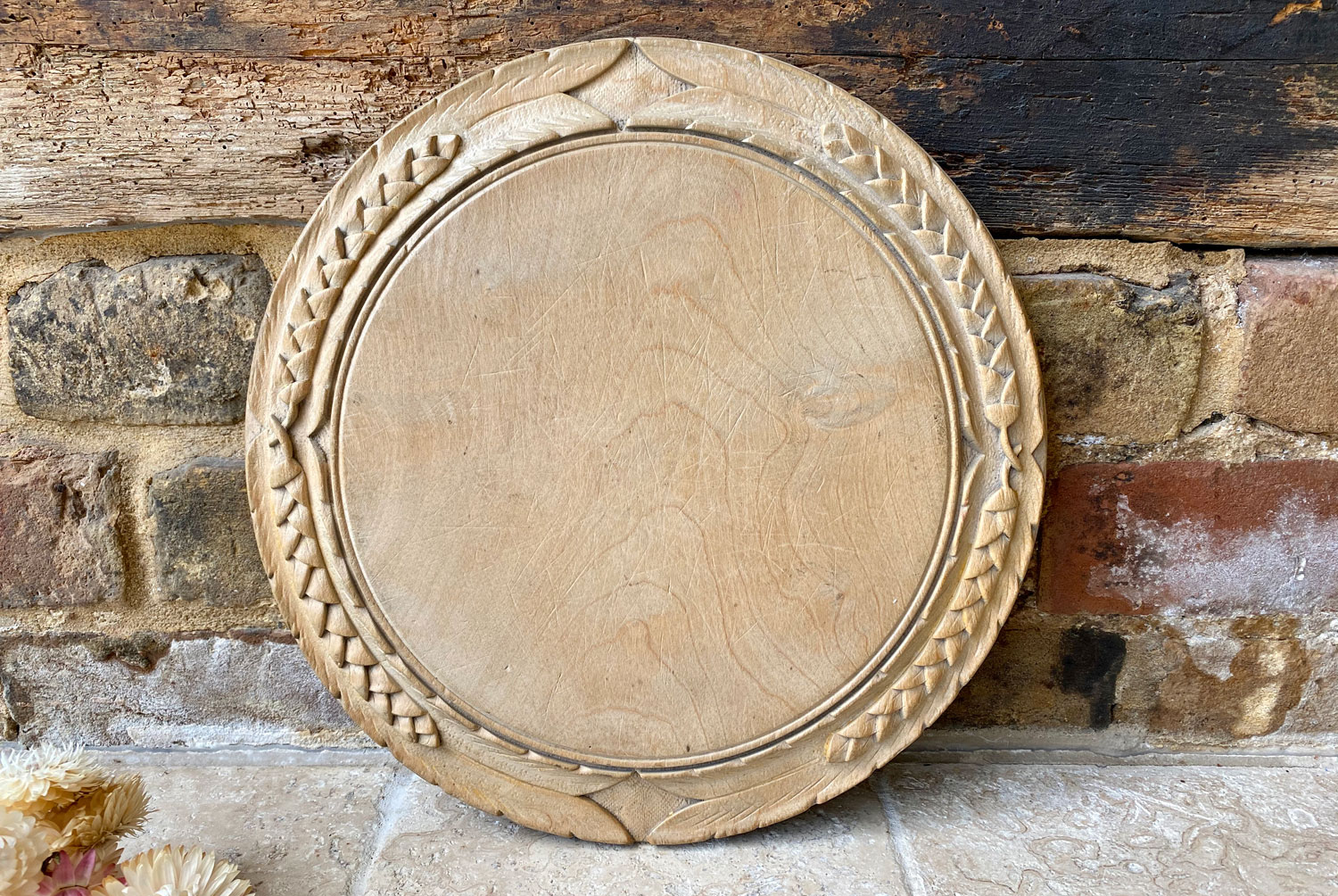 antique victorian large round deeply carved english bread board breadboard wheat