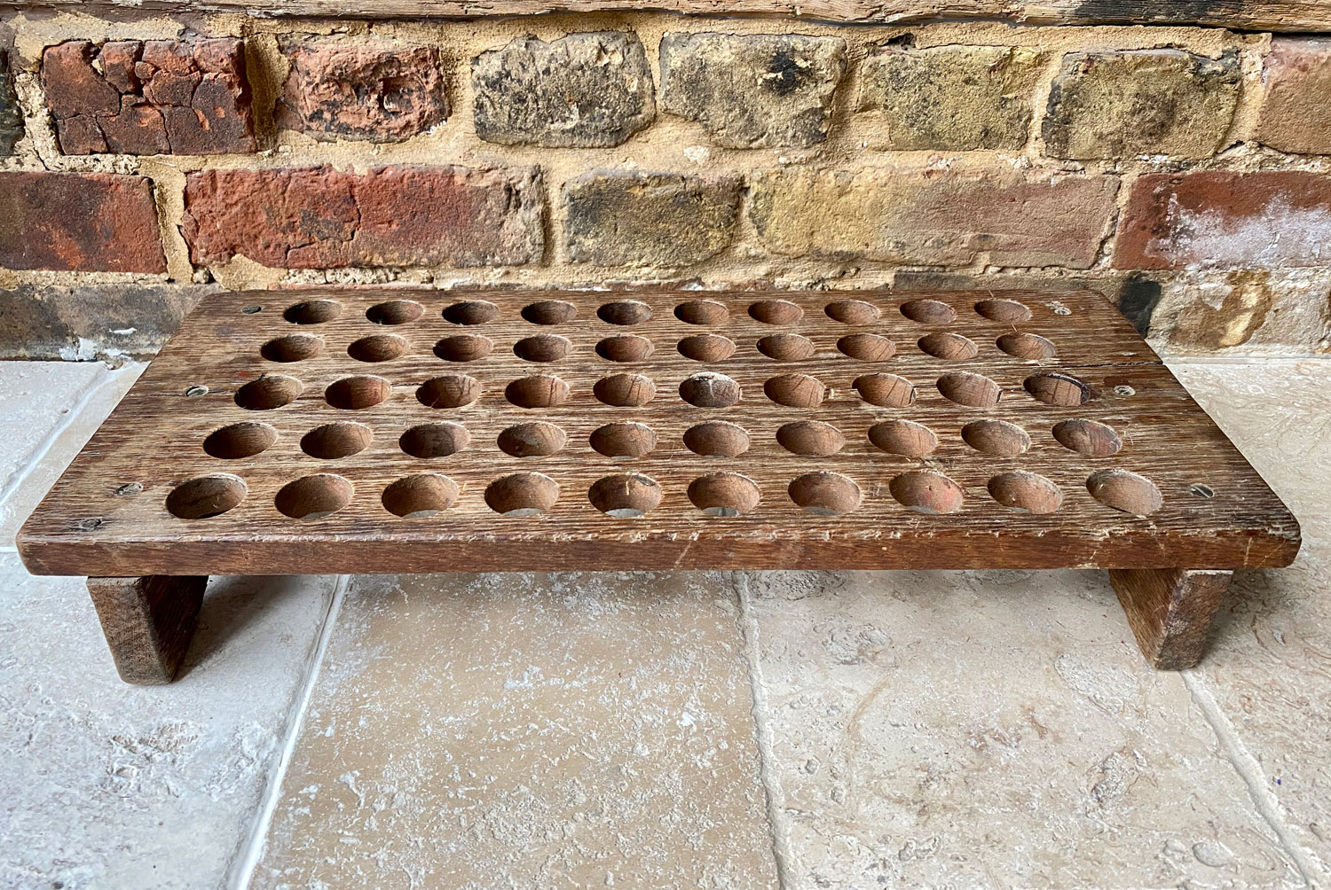 large victorian treen oak single tiered egg rack 50 eggs primitive rustic
