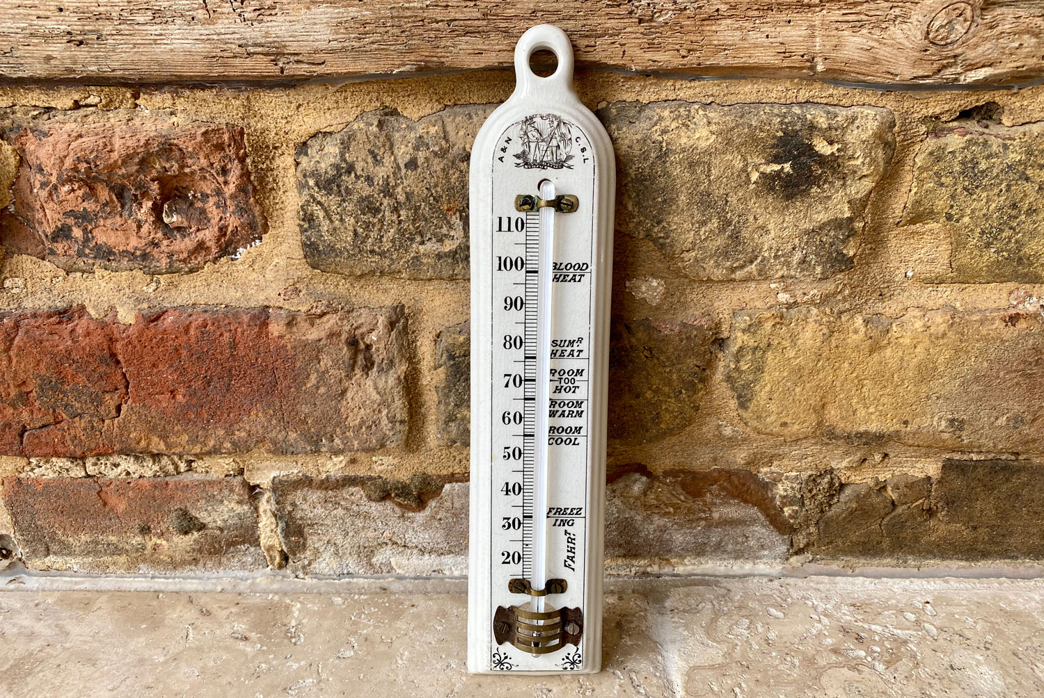 antique victorian white ironstone household thermometer army and navy cooperative stores limited