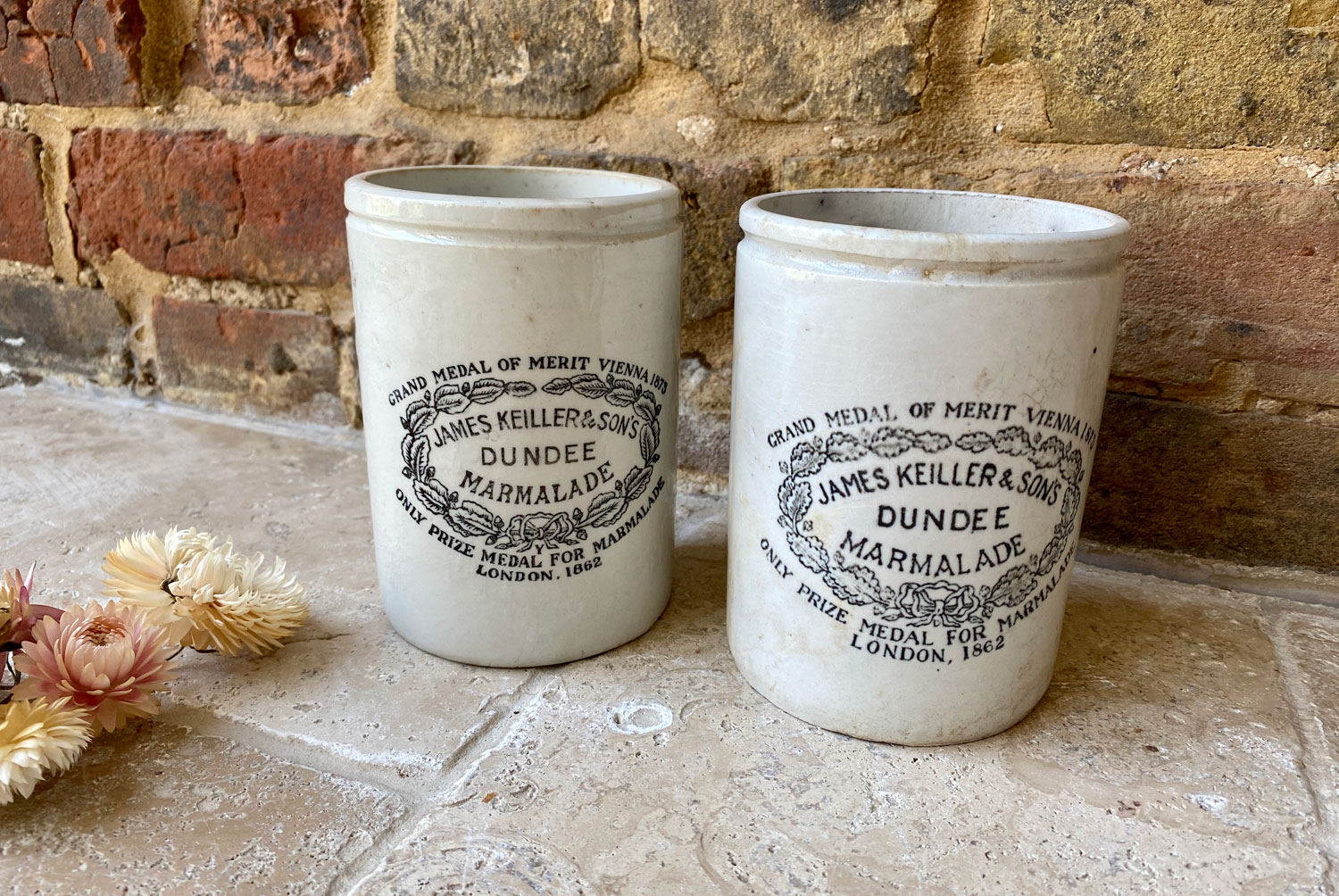 antique victorian white ironstone english advertising pot large tall slim james keiller dundee marmalade