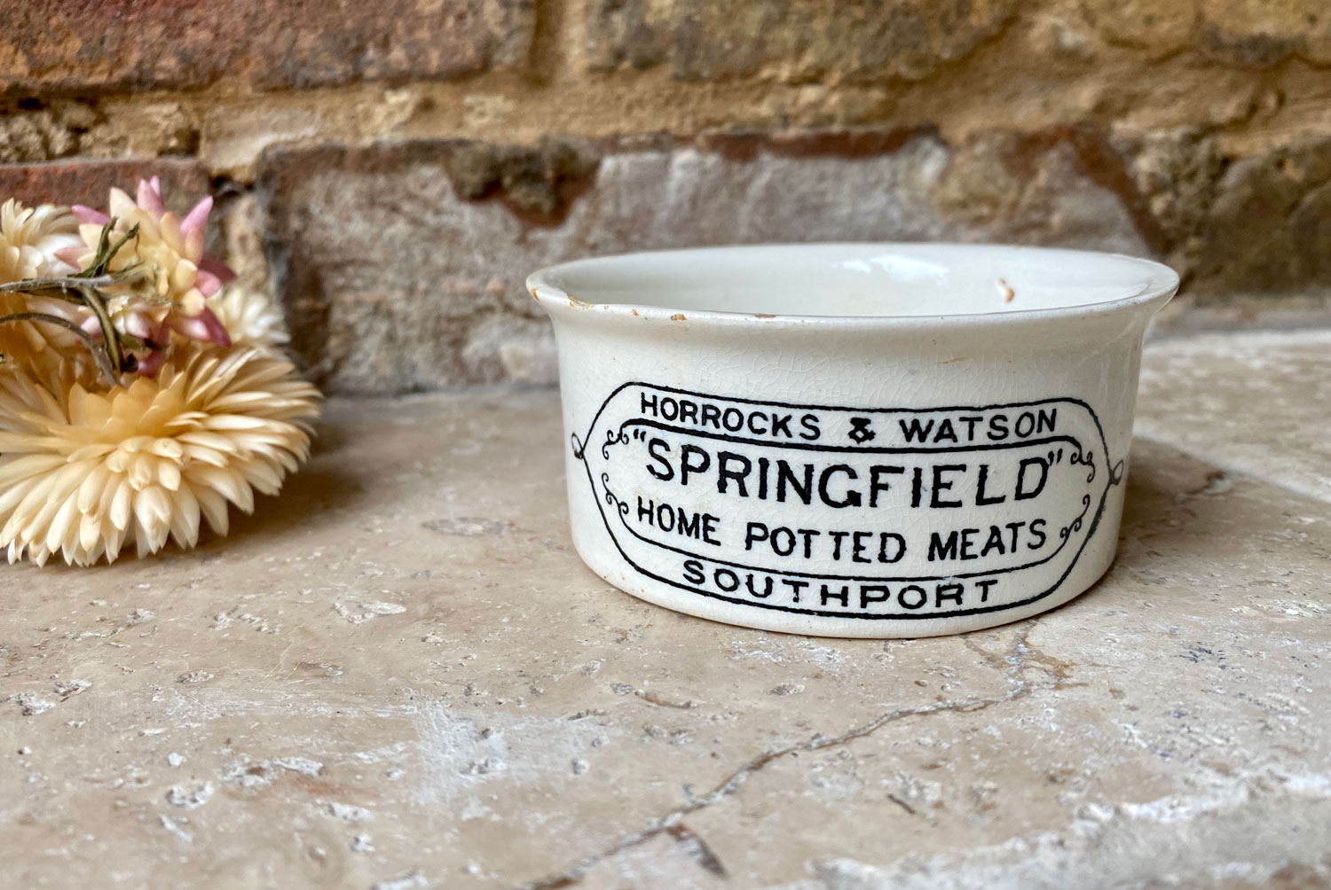 victorian white ironstone english advertising paste pot horrocks watson potted meat southport springfield