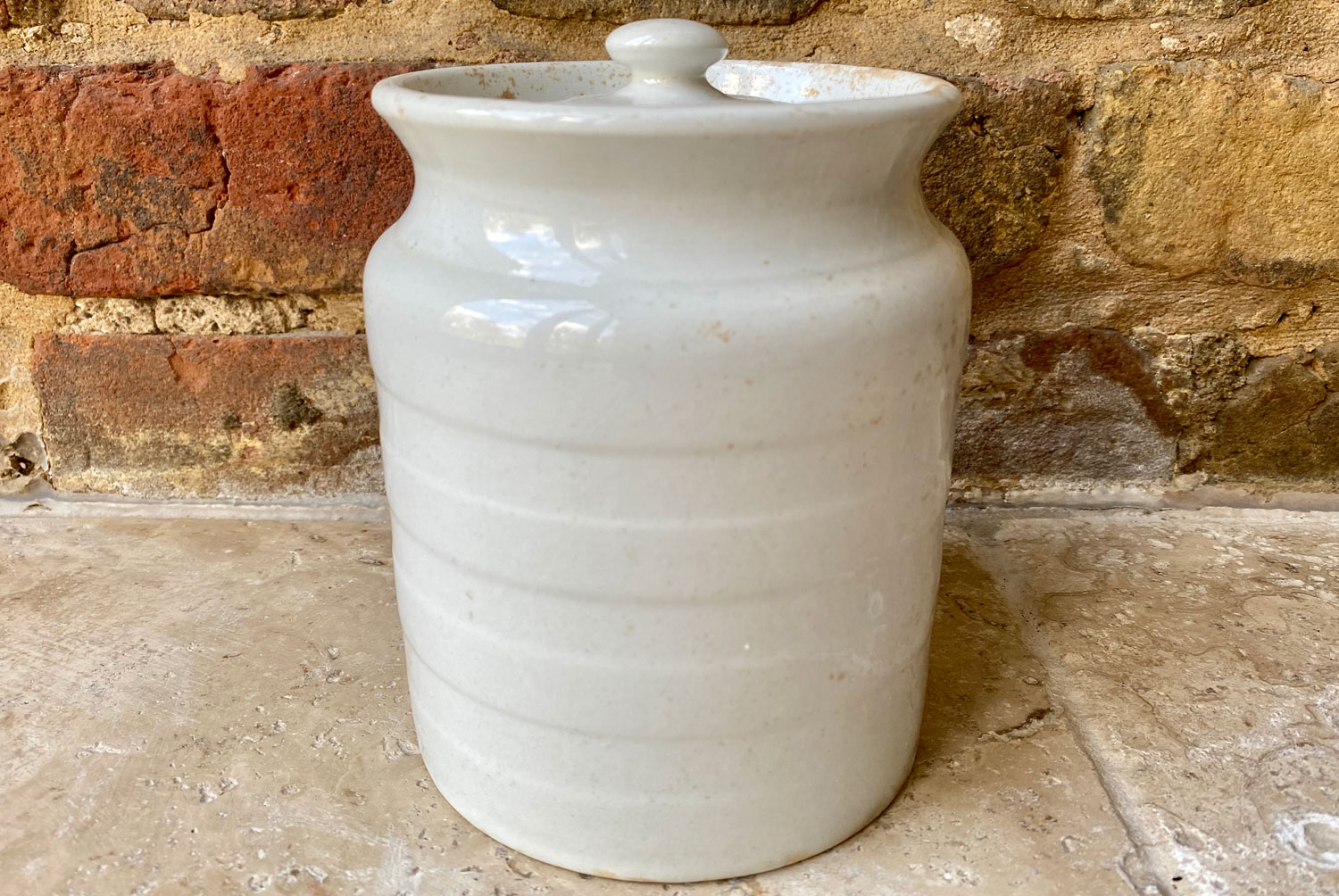 antique edwardian white ironstone banded kitchen storage jar currants