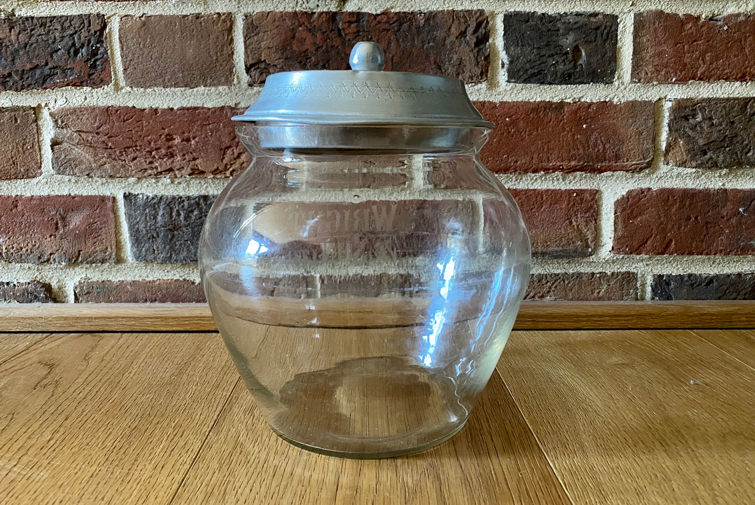 rare edwardian 1920s rounded round shaped size wright sons glass advertising biscuit display jar