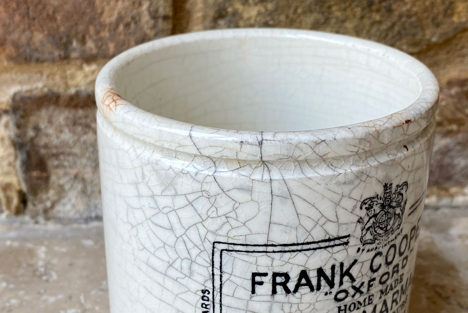 Antique Victorian white ironstone chubby 1 pound version of a Frank Cooper Oxford Seville Marmalade pot