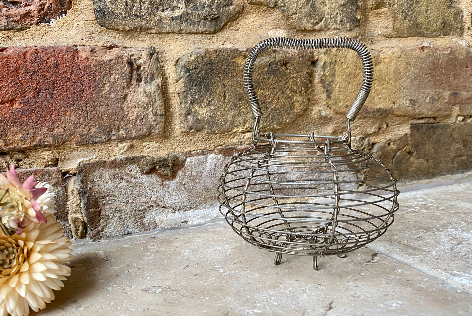 vintage french mid century wirework garlic basket holder
