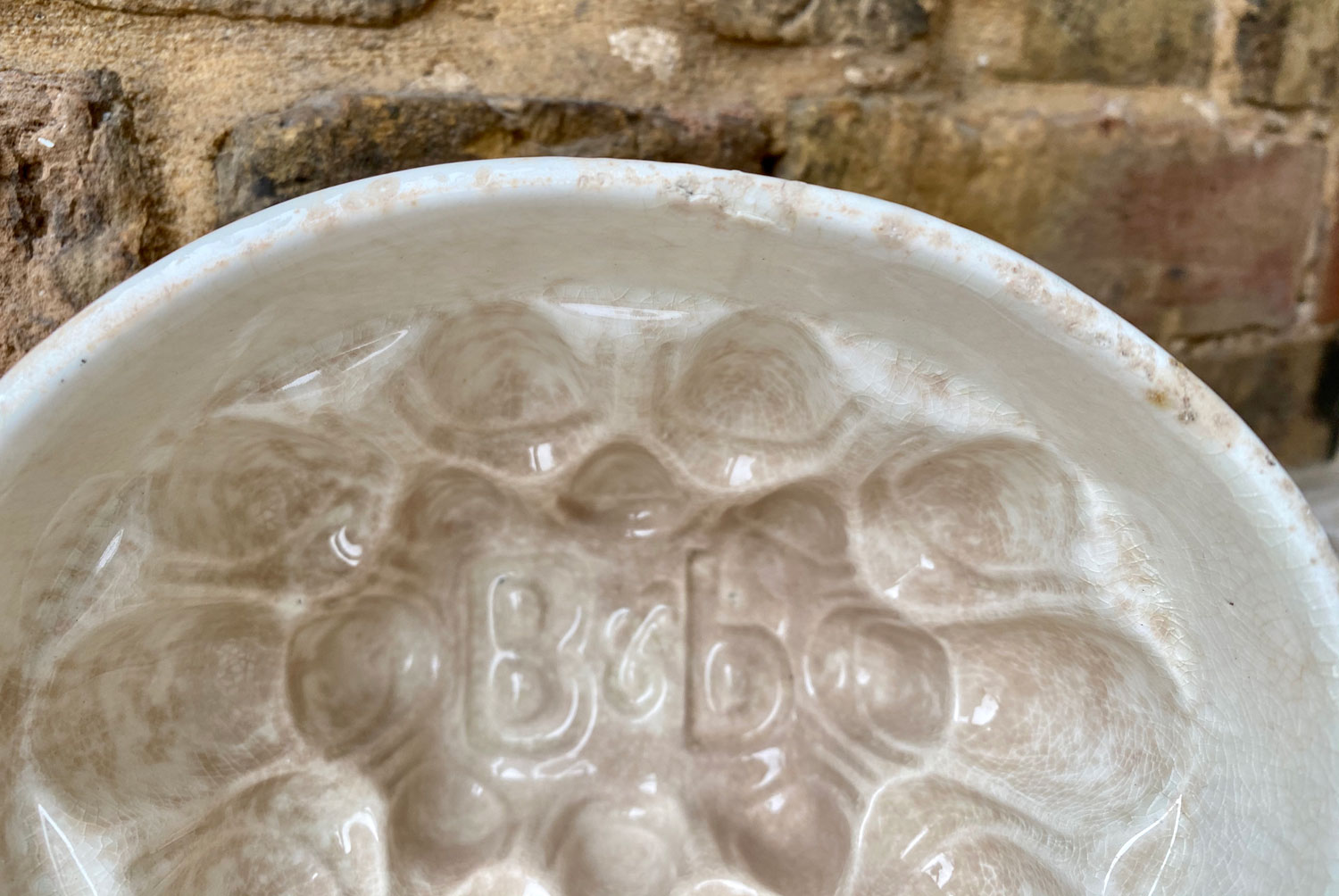 antique 1920s white ironstone english advertising brown polson corn flour blancmange mould rare embossed initials