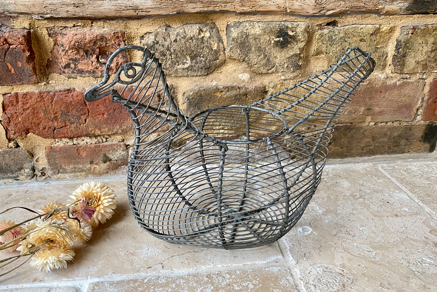 antique 1930s wirework french figural chicken egg basket holder