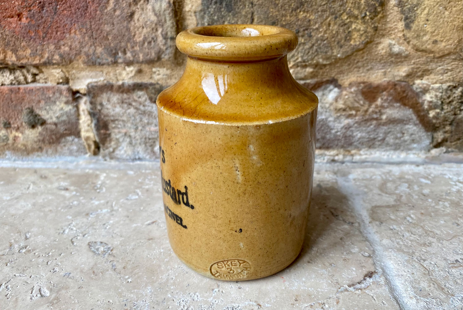 antique early 20th century victorian stoneware english advertising pot taylors mustard newport pagnel treacle glaze