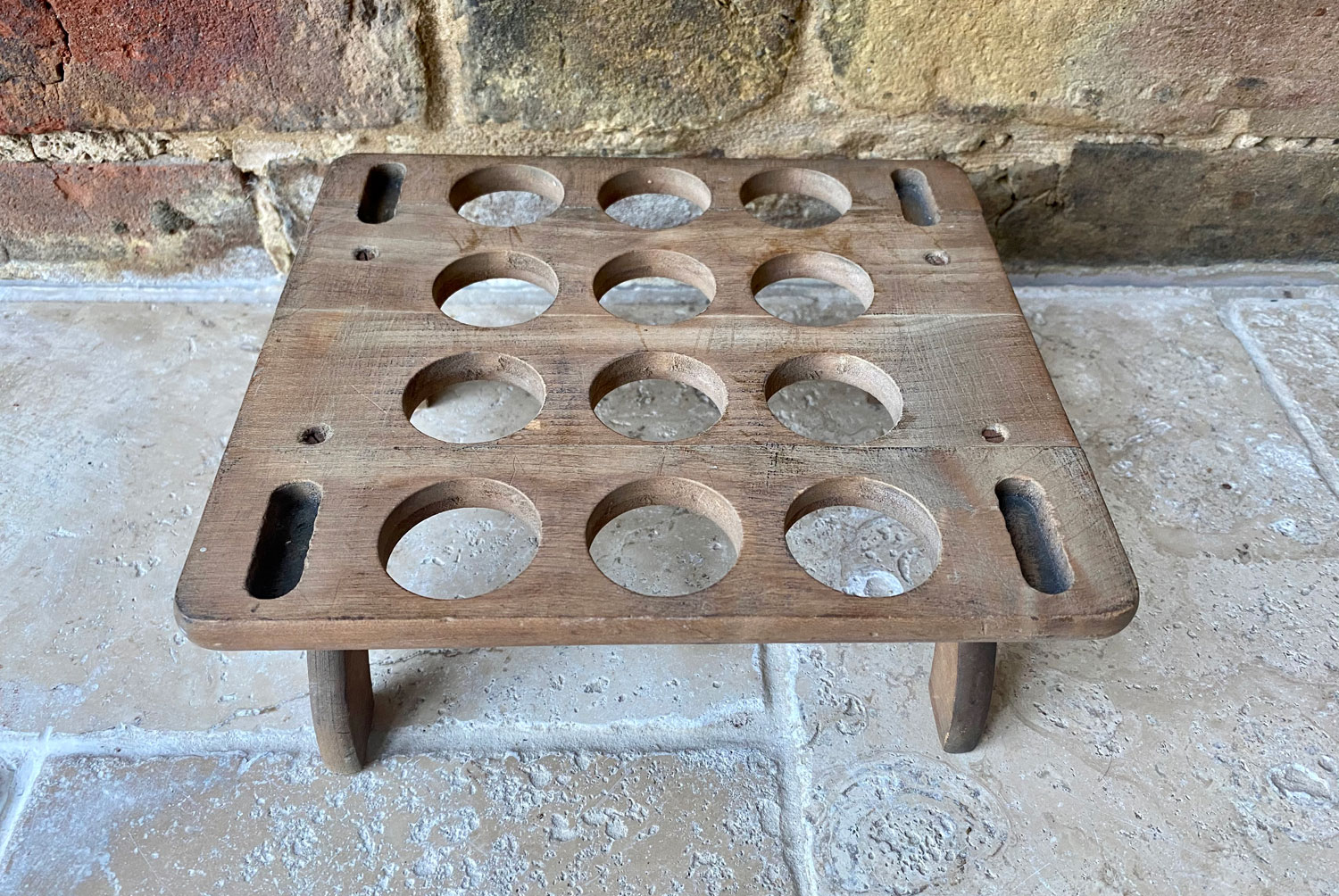 antique edwardian treen wooden 12 egg dozen single tier stackable egg rack