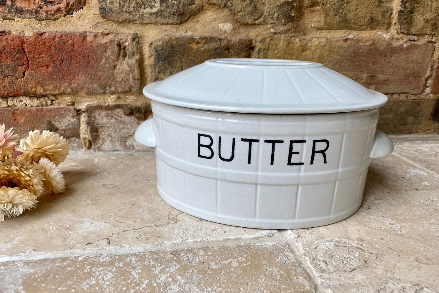 antique edwardian white ironstone large butter dish black transfer barrel banded