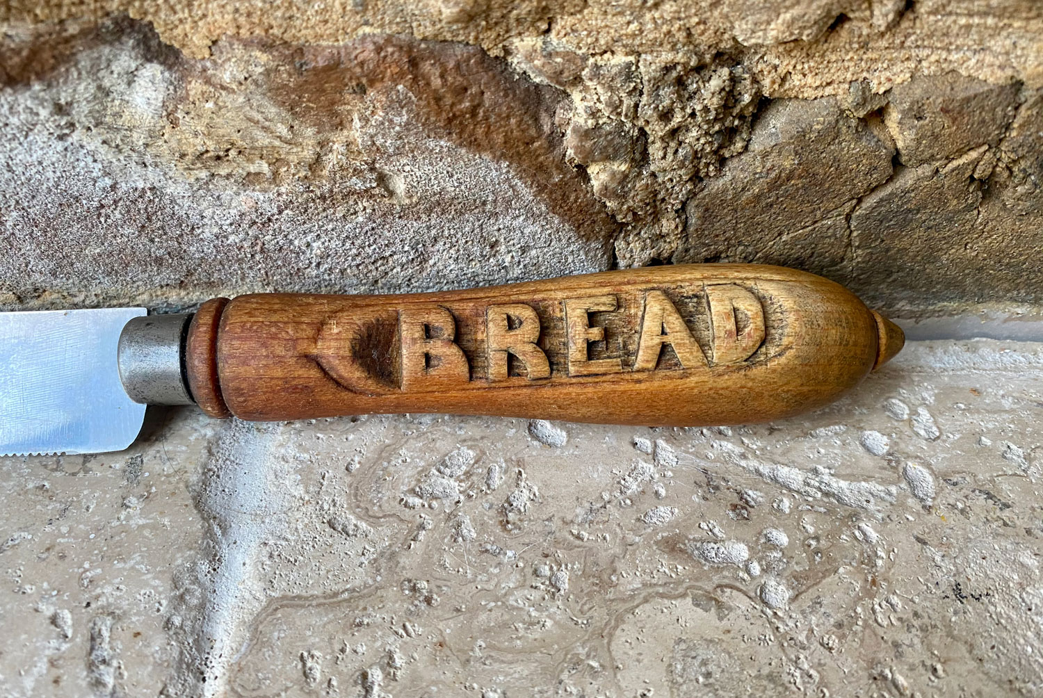 antique edwardian early 20th century carved treen wooden english bread knife stainless steel blade
