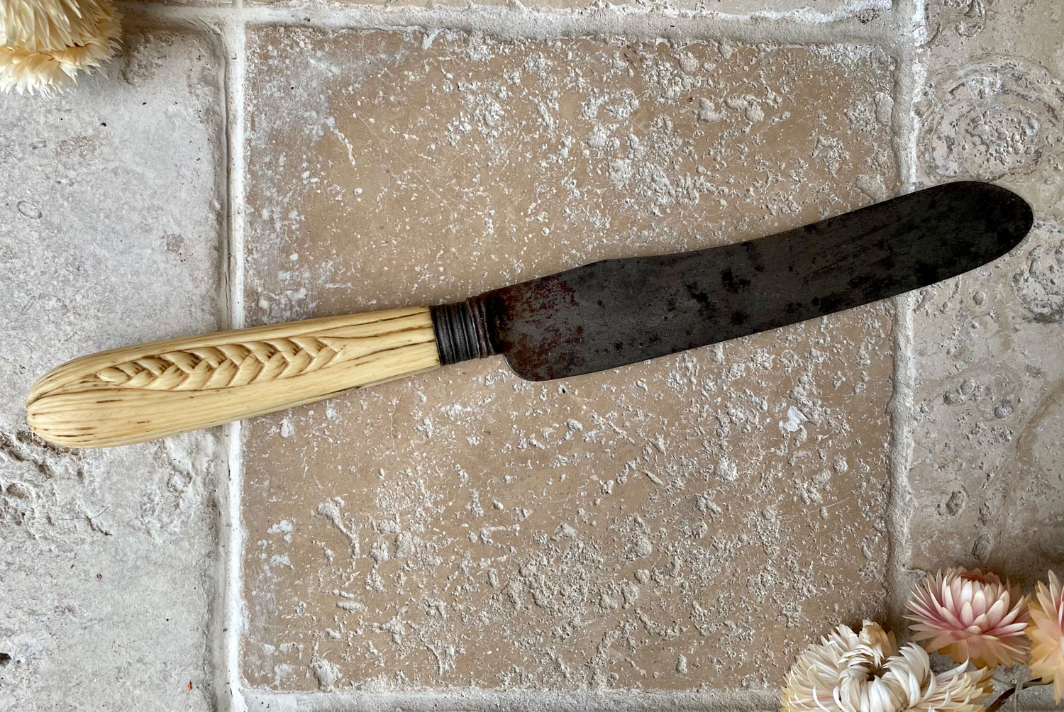 antique victorian carved ivory english bread knife wheat decoration