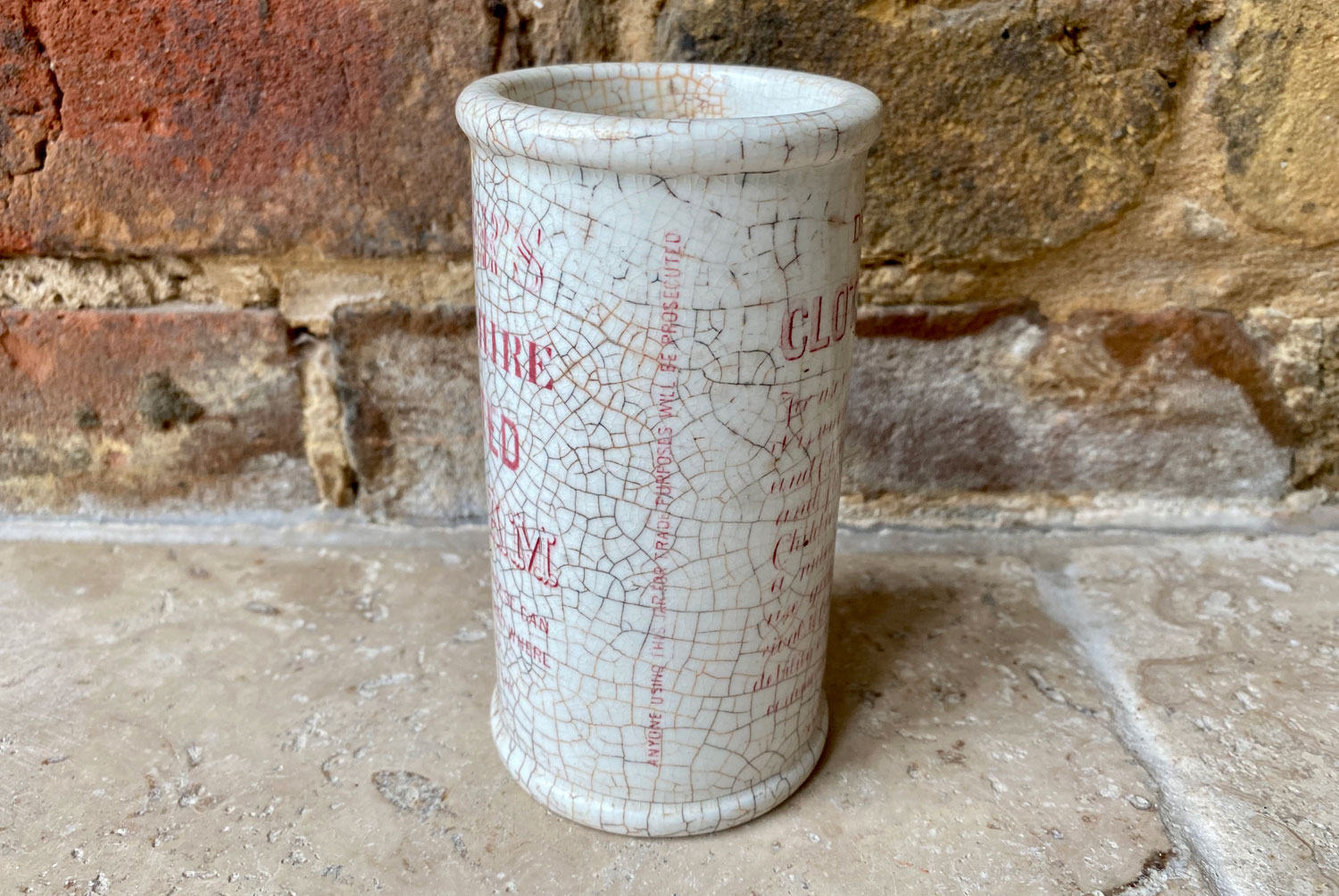 antique victorian white ironstone english advertising pot horners devonshire clotted cream pink transfer