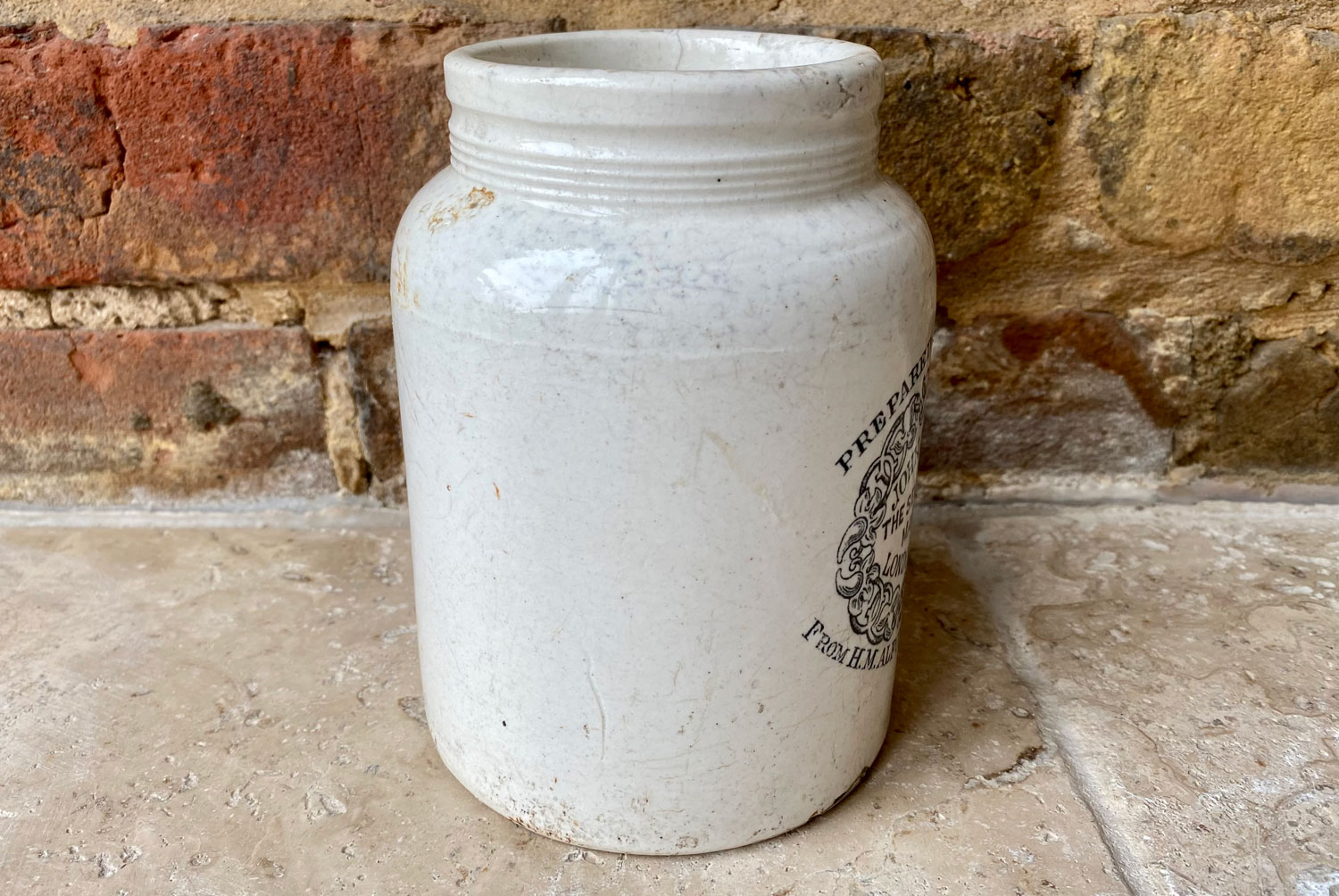 antique victorian rare white ironstone english advertising pot 2 pound collared john moir king alfonso spain