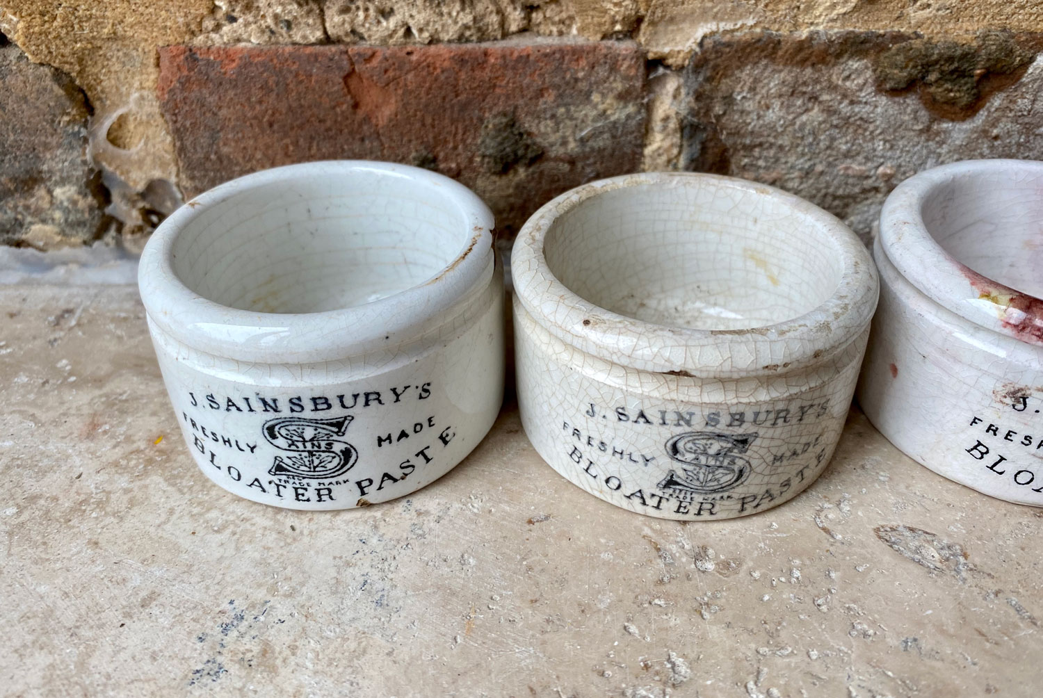 antique victorian white ironstone english advertising pot j sainsburys shallow bloater paste potted meat