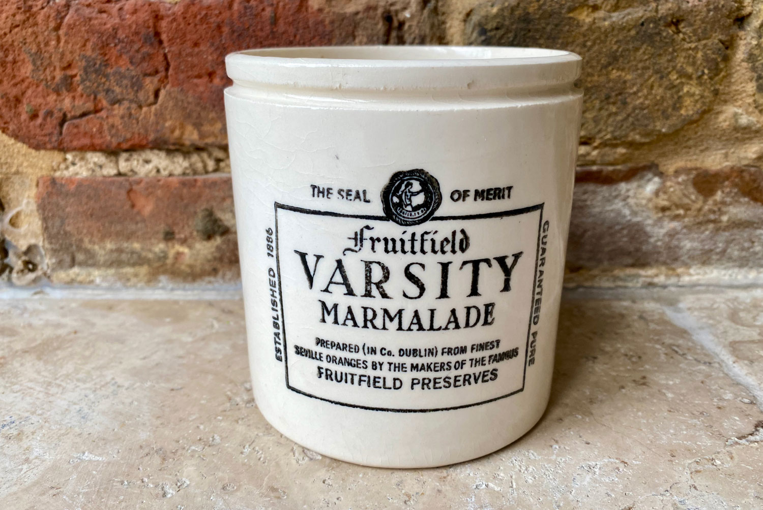 rare antique white ironstone fruitfield varsity large 2 pound irish marmalade advertising pot