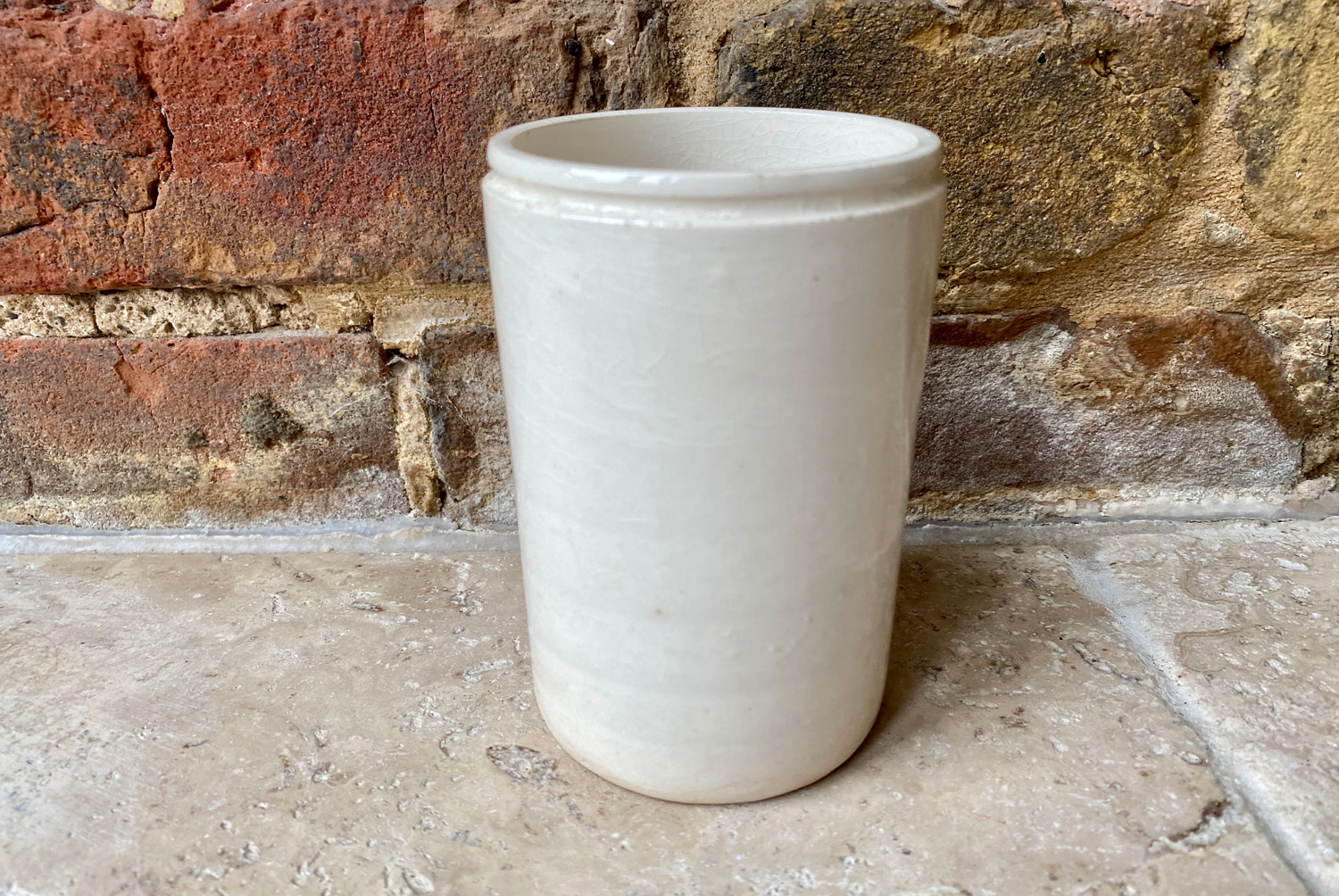 Antique early 20th Century white ironstone advertising marmalade pot for James Keiller Dundee Marmalade in the slim 1lb version