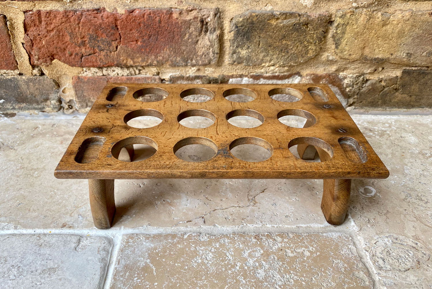 antique edwardian treen wooden rare single tier egg rack one dozen 12 eggs