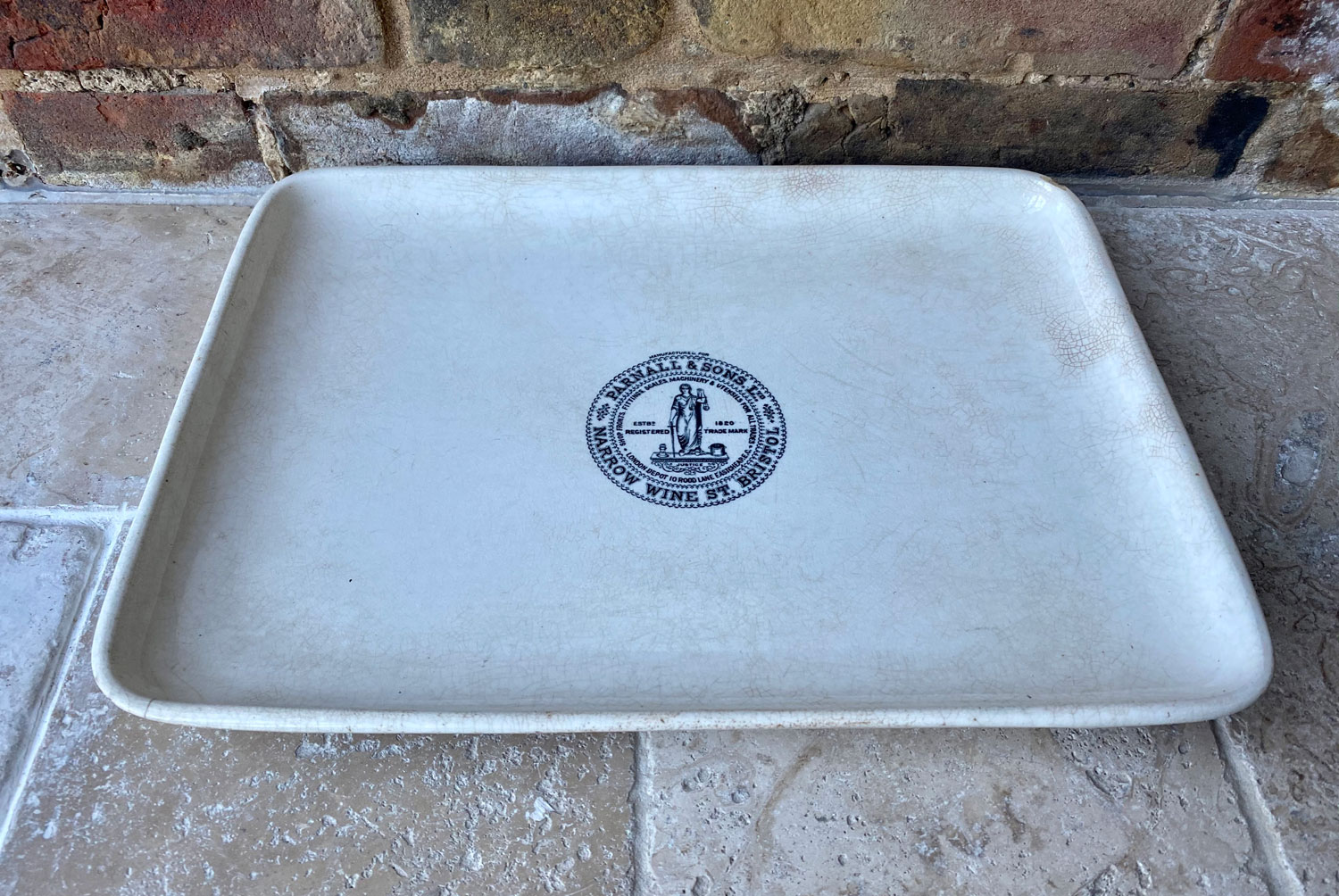 antique large white ironstone butchers shop dairy platter plate slab advertising parnall