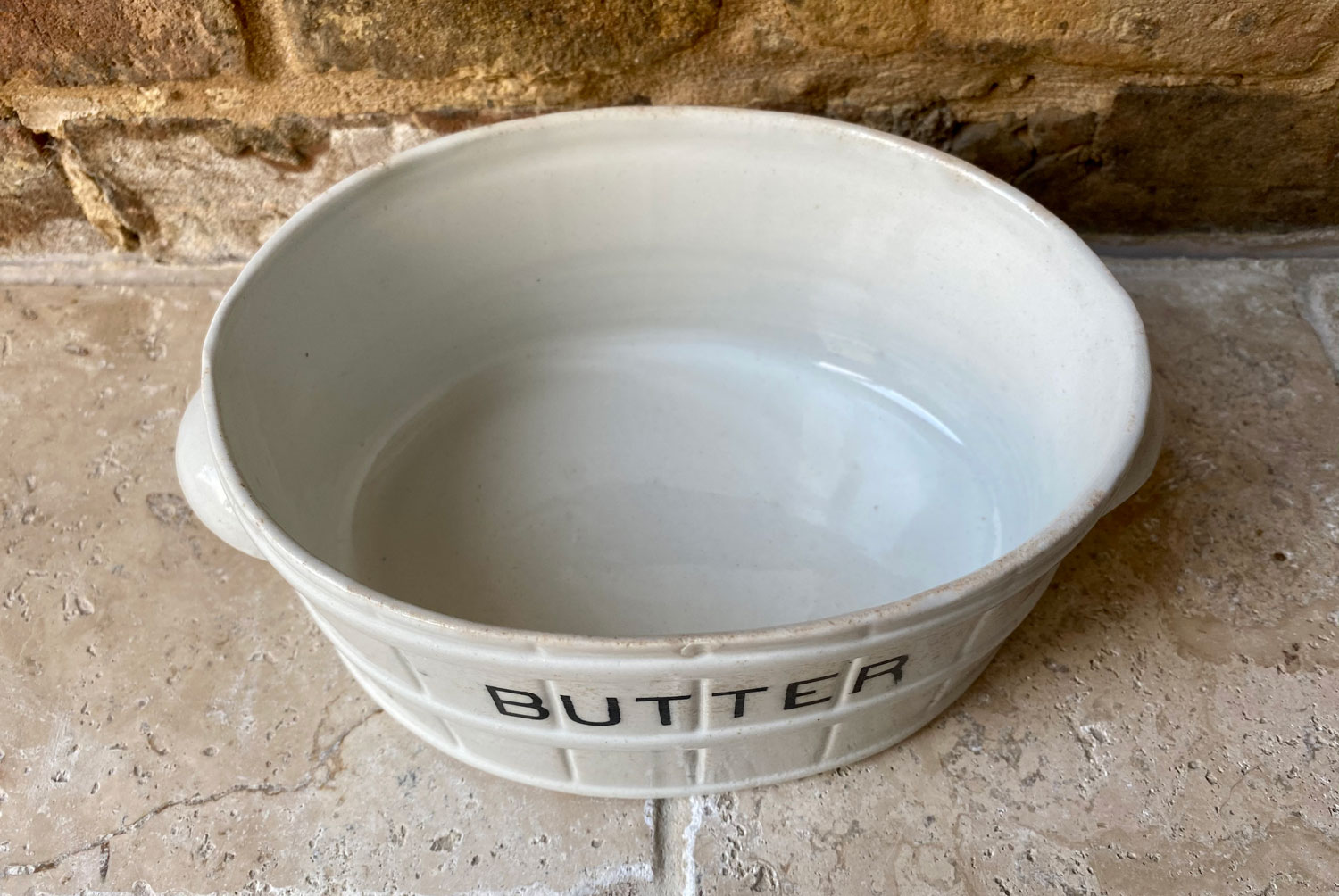 antique edwardian large white ironstone barrel banded butter dish black transfer print typography