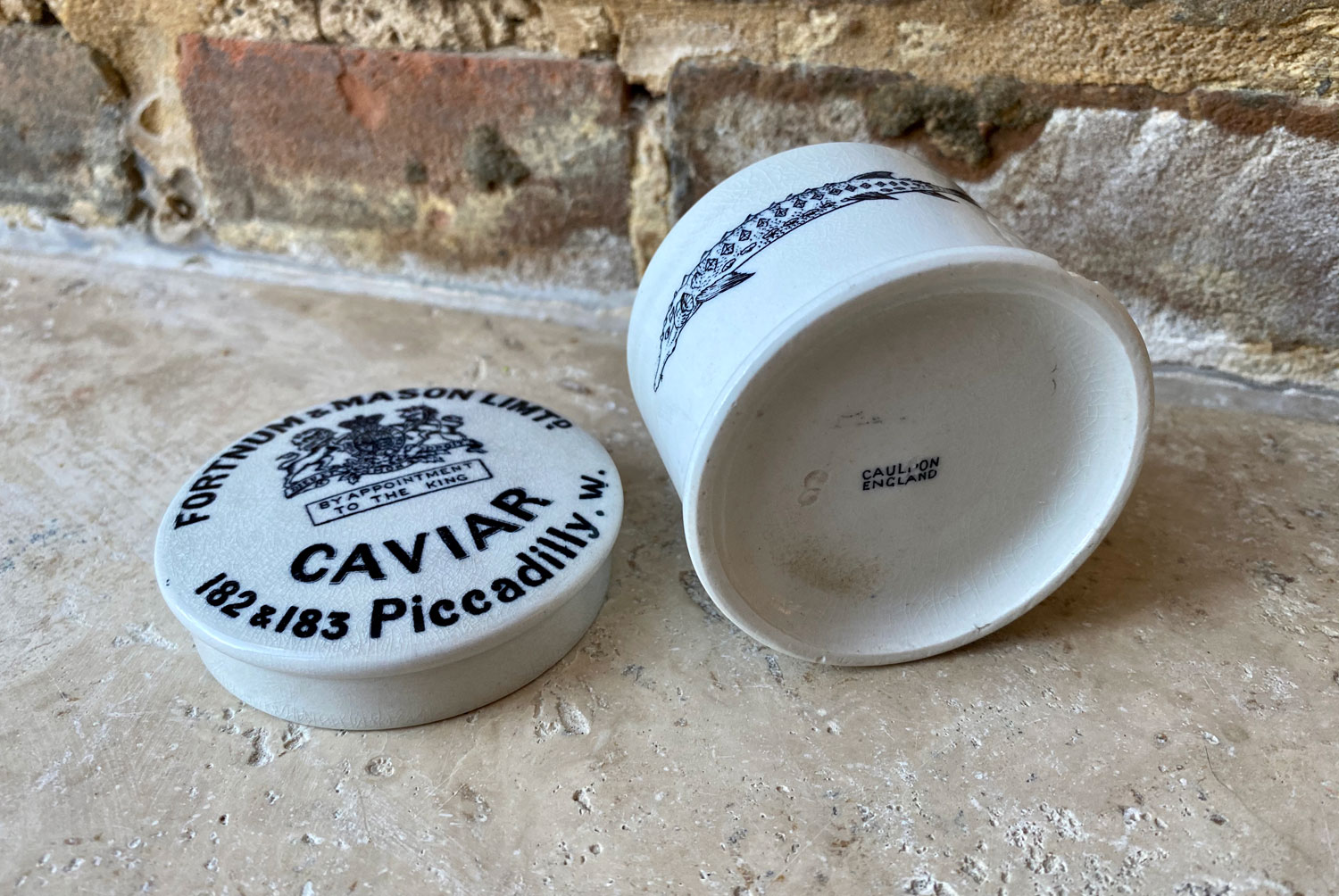 antique edwardian white ironstone advertising jar fortnum mason caviar sturgeon print