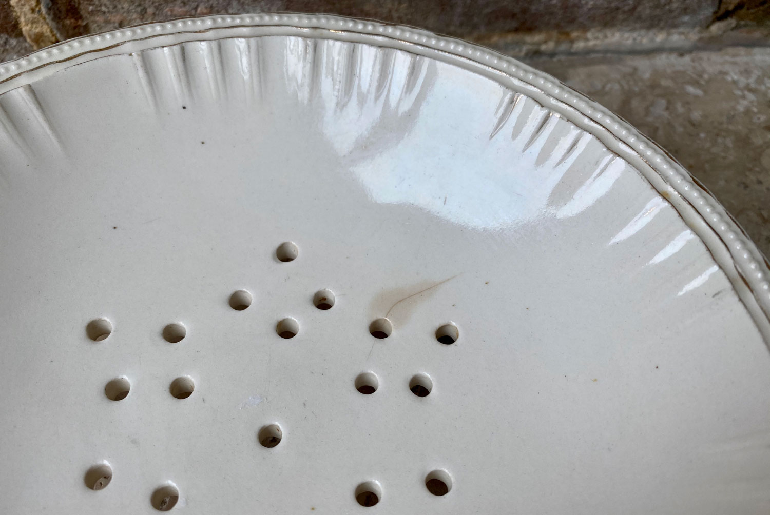 antique edwardian white porcelain ironstone berry strainer