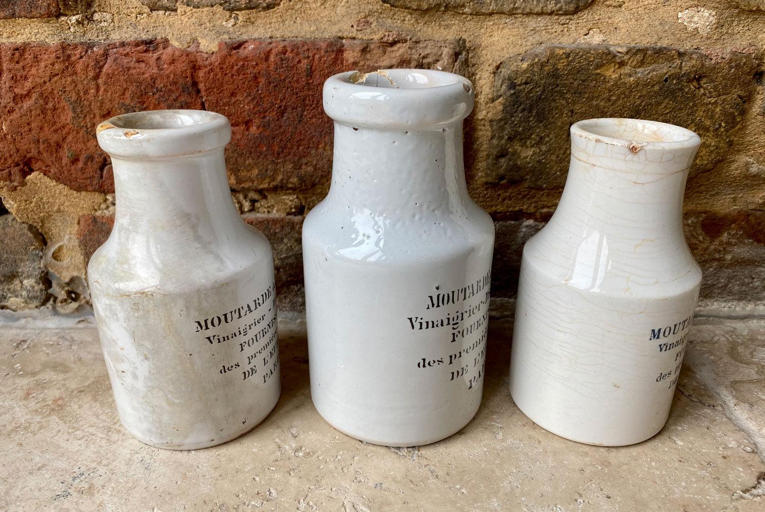 antique white ironstone early 1900s french sarreguemines maille mustard advertising pots