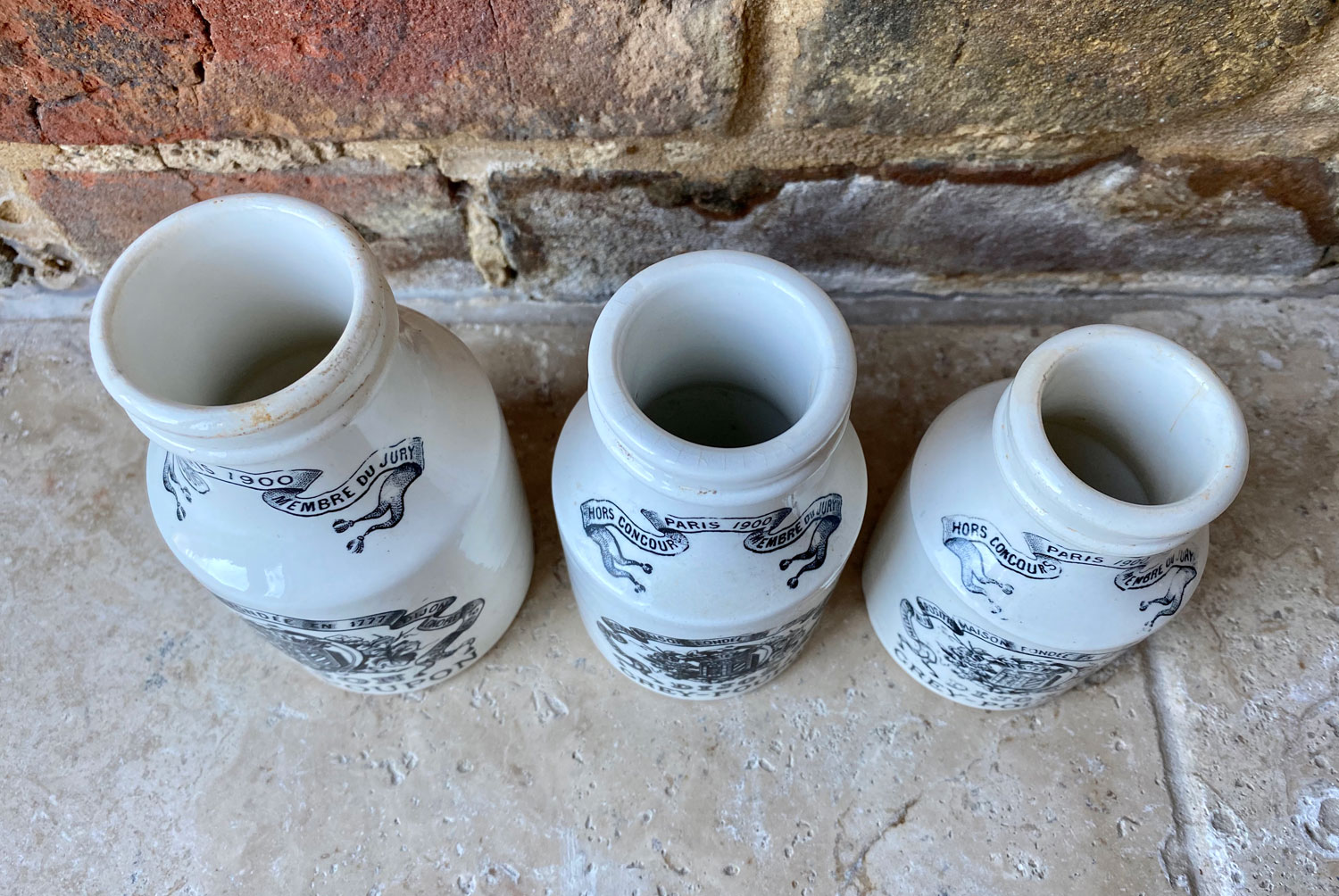 antique early 20th century french white ironstone advertising grey poupon dijon mustard pots sarreguemines
