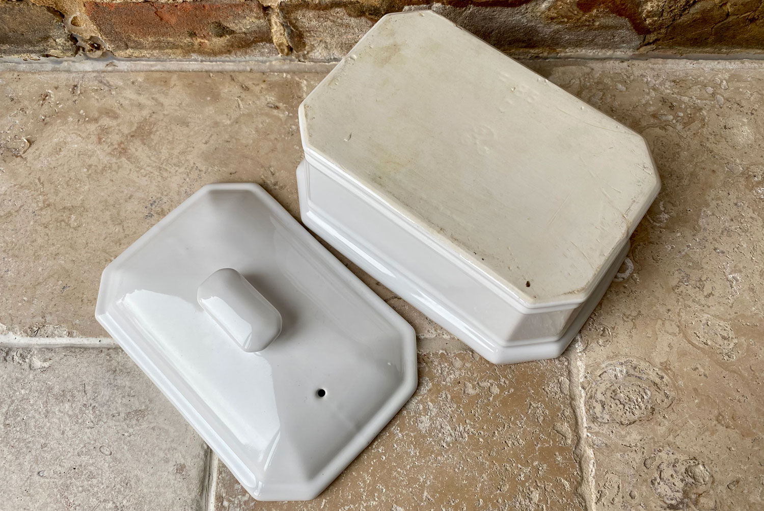 antique vintage french white stoneware large lidded beurrier butter dish