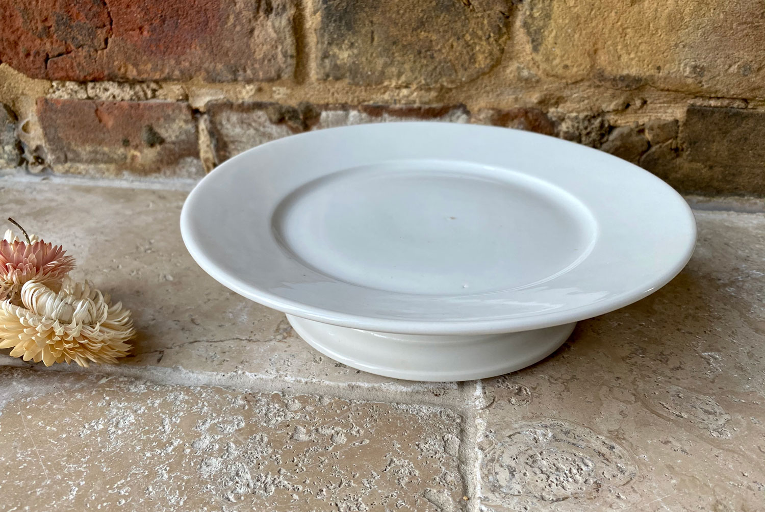 antique white ironstone french footed raised cake stand compote compotier
