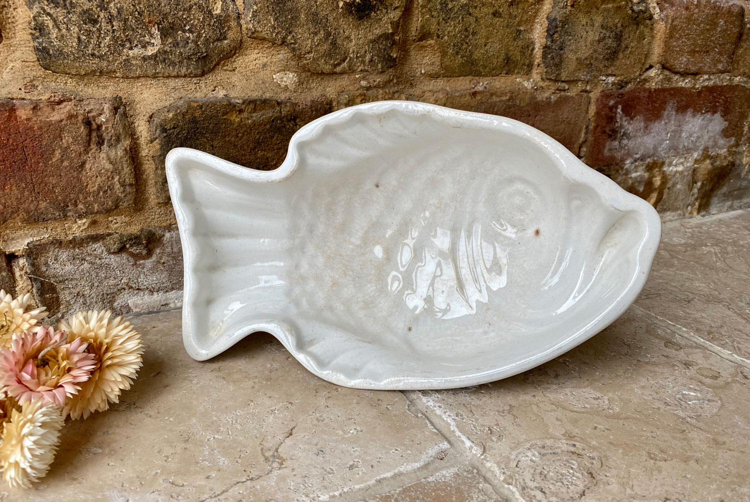 antique 19th century dutch white ironstone petrus regout fish mousse mould