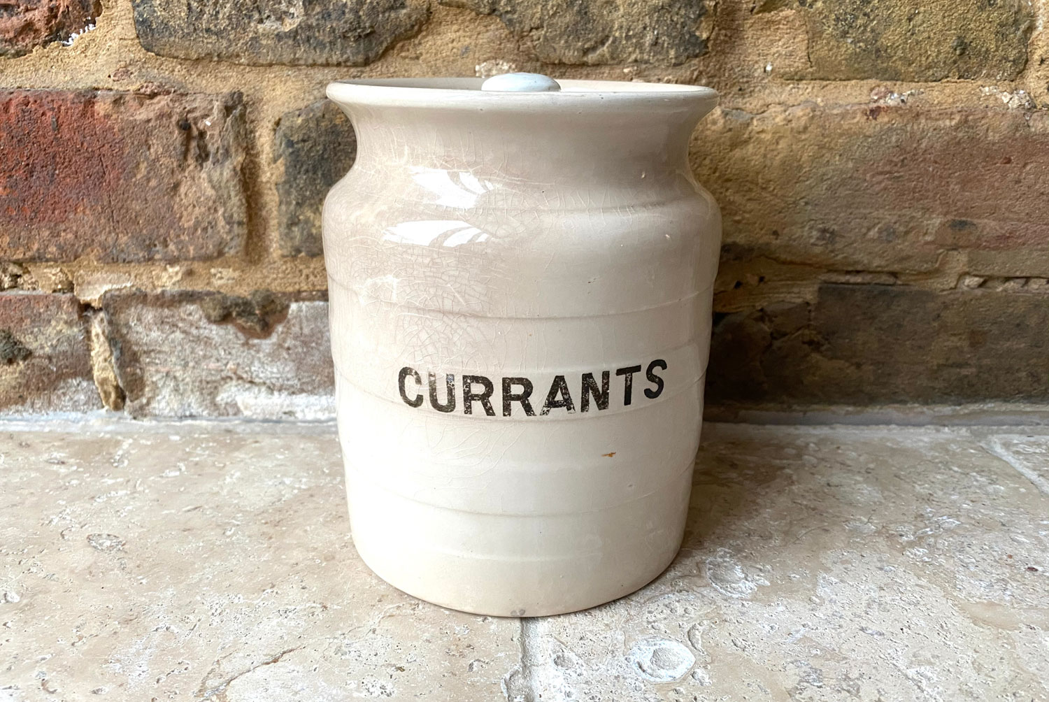 antique white ironstone banded kitchen jar currants