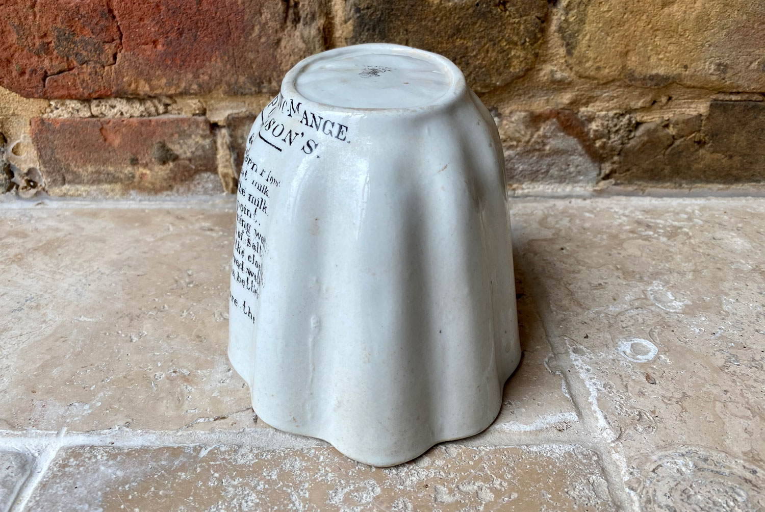 edwardian antique white ironstone brown polson advertising cornflour blancmange jelly mould crimped shape black transfer print typography