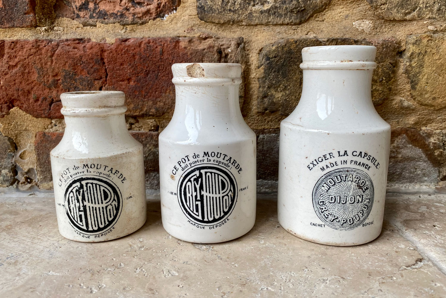 antique french early 20th century sarreguemines white ironstone dijon grey poupon advertising pots
