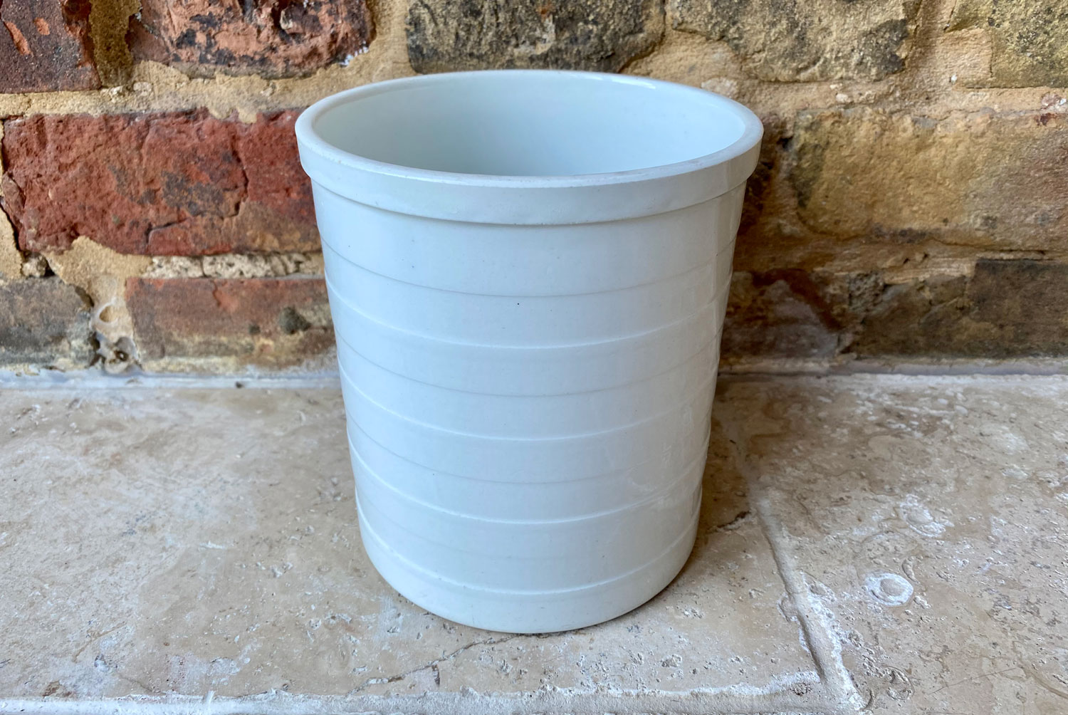 antique maling 1920s early 20th century banded white ironstone rare sanitary brush holder pot canister