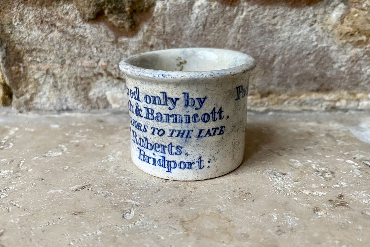 antique mini white ironstone english advertising pot beach barnicott poor mans friend blue transfer print