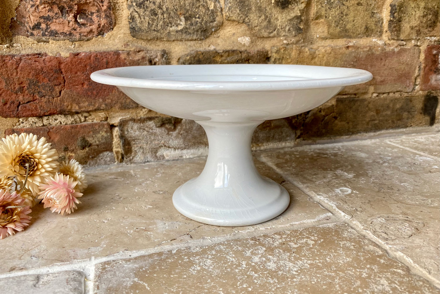 antique early 20th century white ironstone compote dish plain whiteware compotier boch les freres