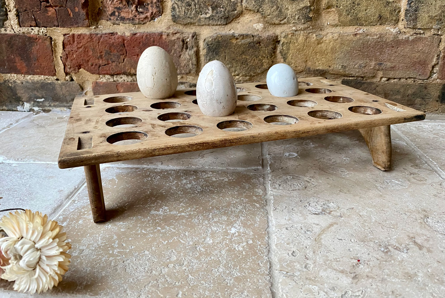 antique victorian edwardian treen wooden single tier stackable egg rack