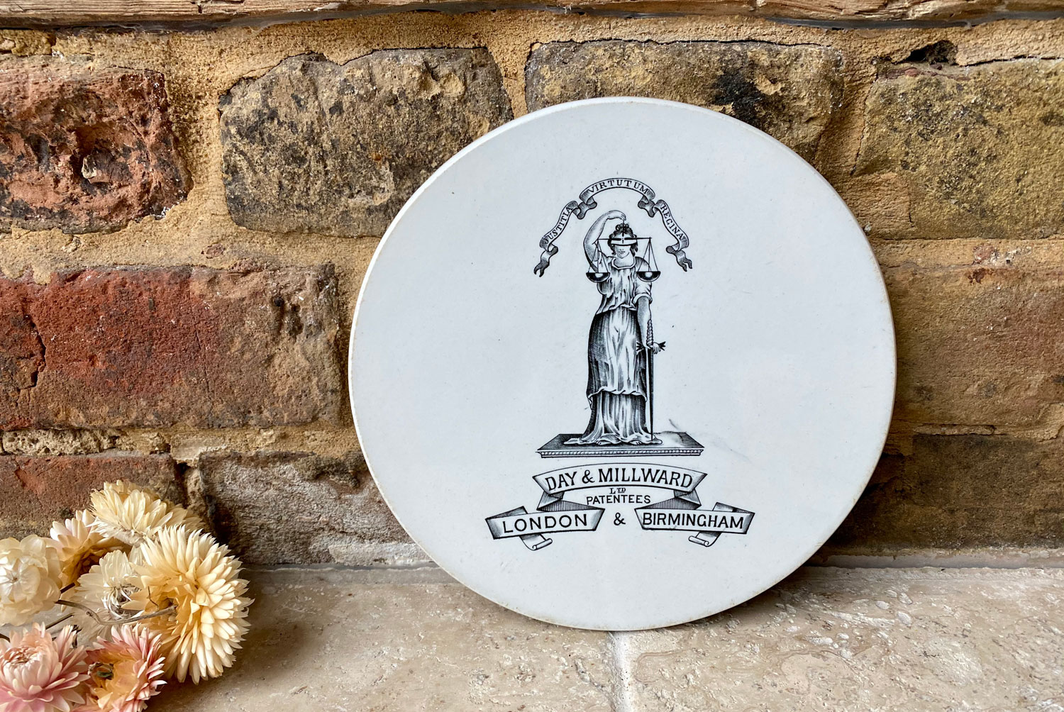 antique edwardian white ironstone scale plate justitia fides day millward