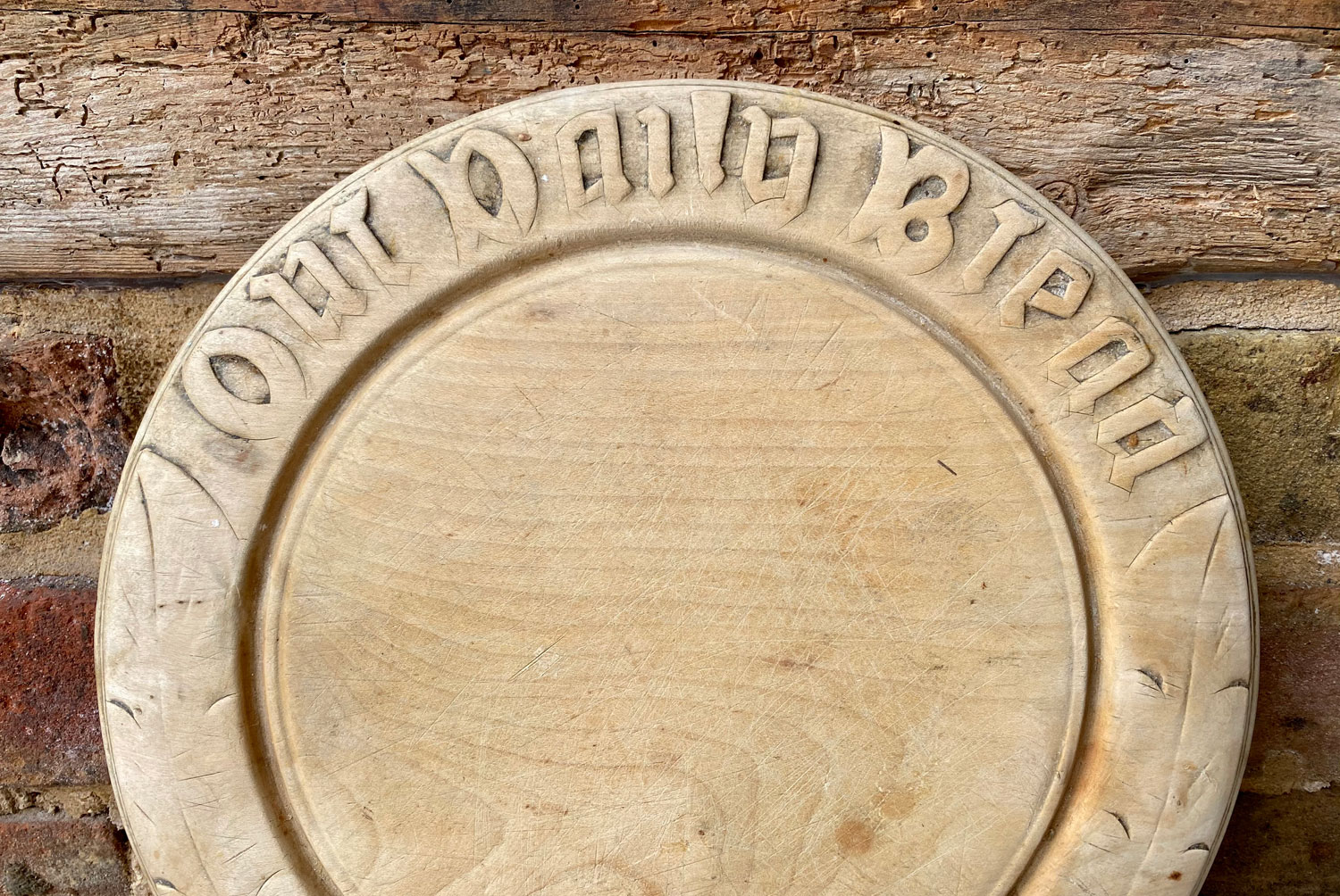 antique early 20th century carved english breadboard out daily bread motto